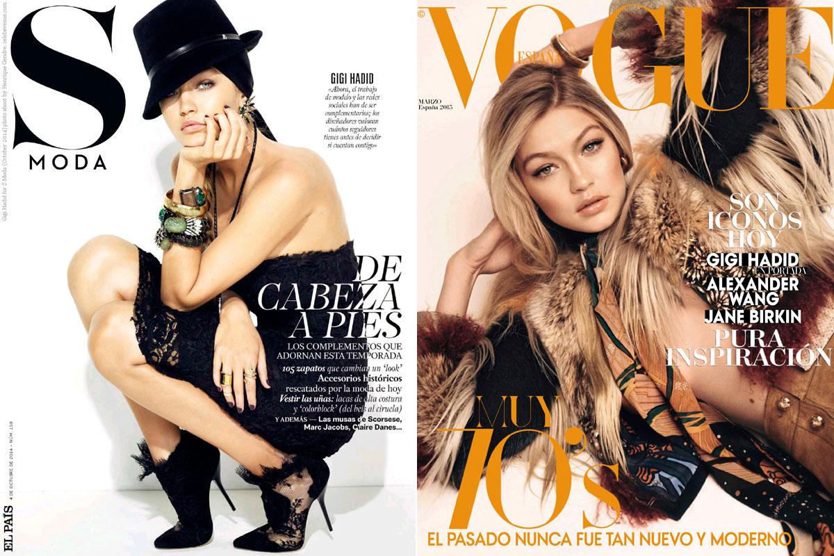 Gigi ha protagonizado numerosas portadas internacionales. En la imagen, en las cubiertas de 'S Moda' y 'Vogue España'.