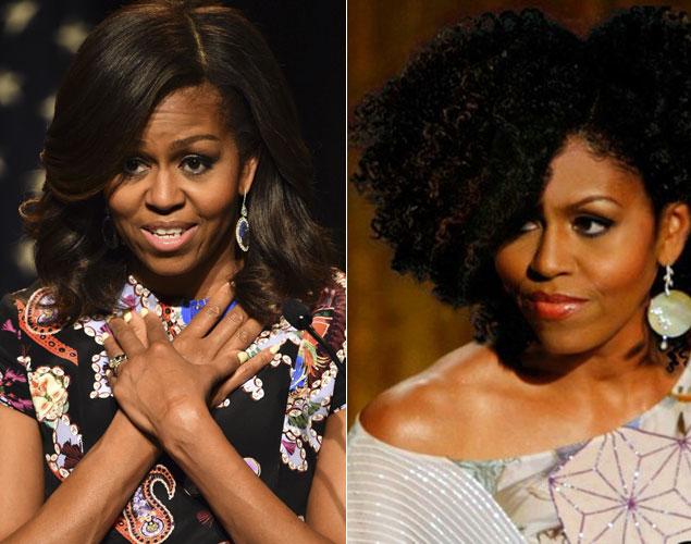 Internet también ha imaginado como estaría Michelle Obama si optase por llevar su pelo al natural.Foto: Getty/ curlinikki.com