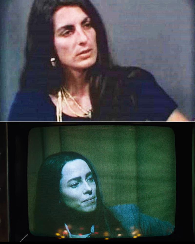 Arriba, Christine Chubbuck. Abajo, Rebecca Hall en un fotograma de la película.