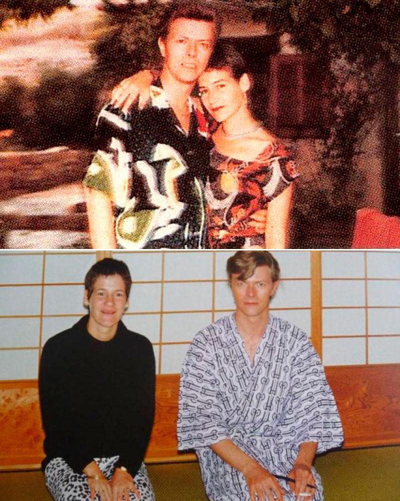 Arriba, la leyenda y su asistente posando en los 80. Abajo, juntos en un viaje a Japón.