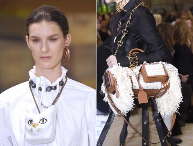 Maxicollares de gato y bolsos-oveja en el desfile de Loewe