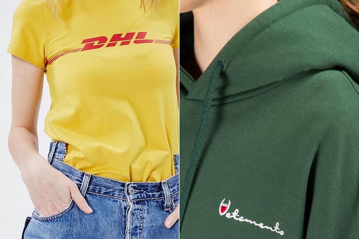 Vetements, experta en versionar logos de otras marcas. En la imagen, los de DHL y Champion.
