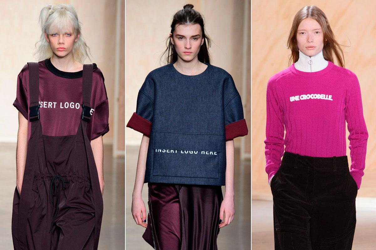 """El guiño de DKNY (""""Insert logo here"""") y el logotipo de Lacoste convertido en mensaje."""
