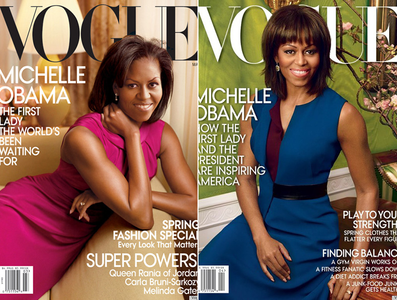 Las dos anteriores portadas de Michelle Obama en Vogue USA.