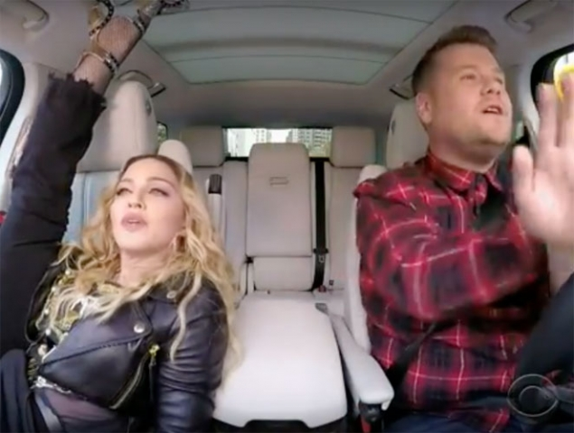 Y Madonna cantó 'Vogue' en el Carpool de James Corden