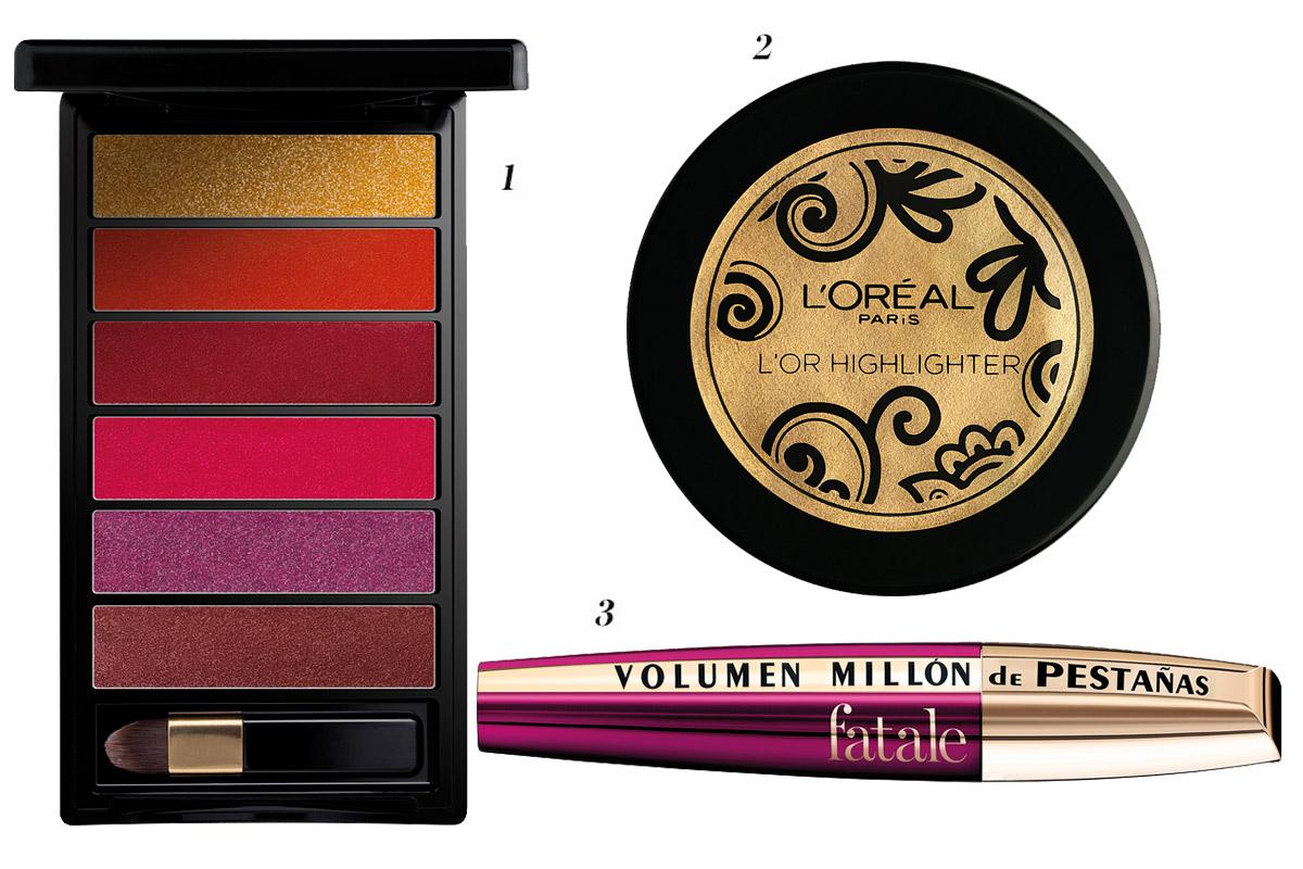 1. Lip Palette Gold 2. L'Or HighLighter 3. Volume Million Lashes Fatale. Todo de L'oréal Paris.