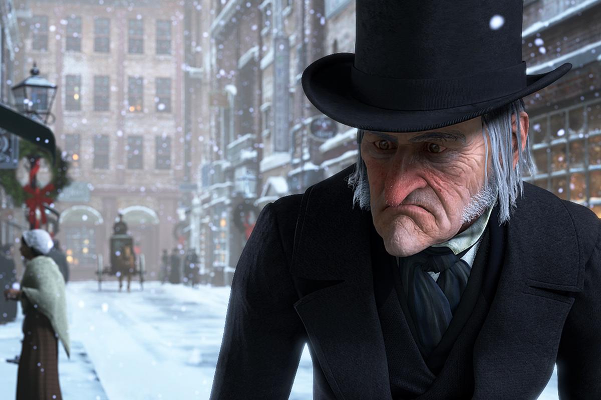 Jim Carrey como el solitario y egoísta Ebenezer Scrooge en la adaptación de 'Cuento de Navidad' de Robert Zemeckis.