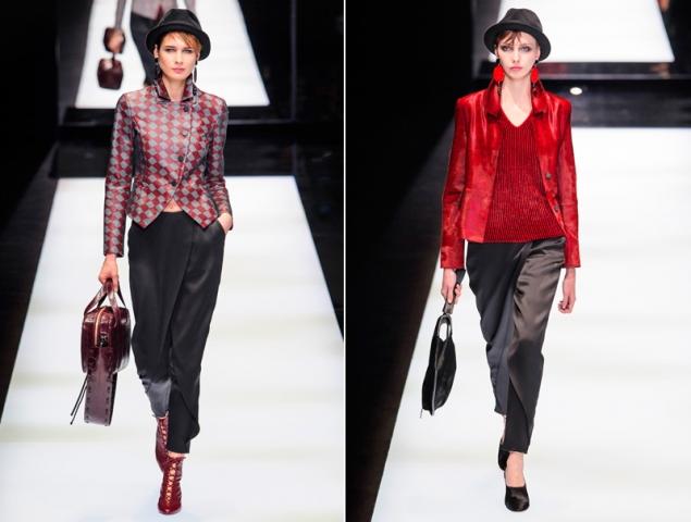 Falda-pantalón y sombrero, el uniforme de las chicas Armani