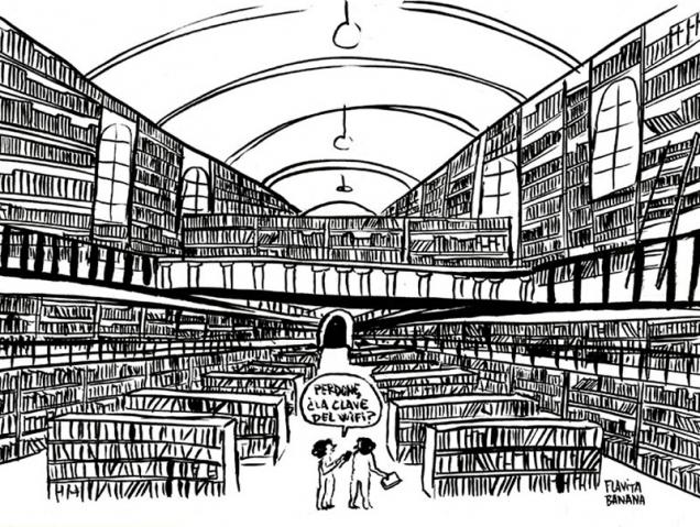 La viñeta de Flavita Banana: una tarde en la biblioteca