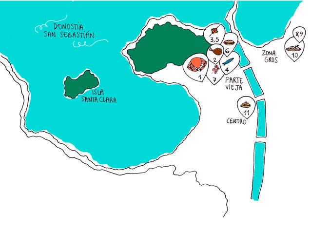 Mapa Donosti